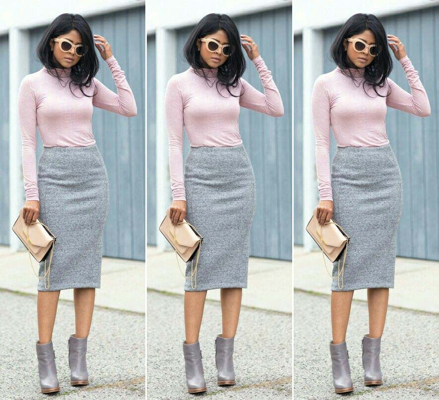grey shoes grey skirt pink top