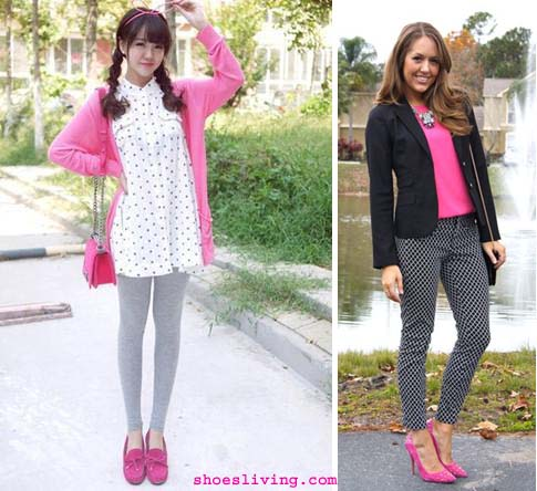pink shoe grey legging