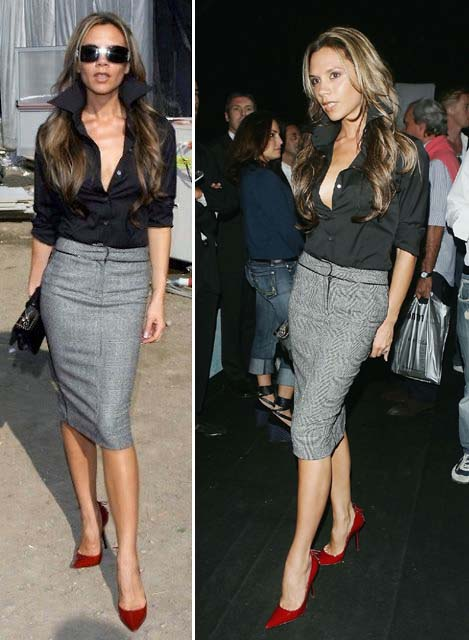 Victoria Beckham red shoes grey skirts sexy