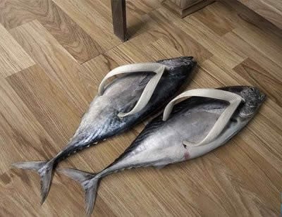 weird shoes fish slippers